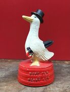 Antique Hubley Save For A Rainy Day Cast Iron Coin Bank Paint Top Hat Old Vtg