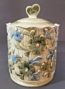 Vintage Napco Canister Cookie Jar Green And Blue Flowers Knitted Texture Look
