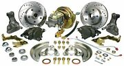1968-1974 Chevy Nova Complete Front Booster Disc Brake Kit Drop Spindle