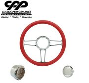 New Cpp Cspoke Chrome Billet 14 Steering Wheel Red Leather 1/2 Wrap Hub Horn