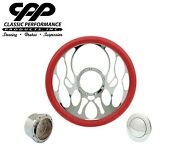 New Cpp Torch Chrome Billet 14 Steering Wheel Red Leather 1/2 Wrap Hub Horn Kit