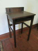 Small Antique Arts And Crafts Mission Oak Entry Hall Writing Mail Desk Stand