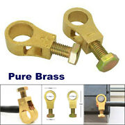 1pair Of Pure Brass Heavy Duty Car Truck Battery Top Post Cable / Wire Terminals