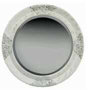 Antique Style Wall Mirror Round Baroque White Frame Castle Classic Look Vintage