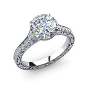 0.85 Ct Round Real Diamond Bridal Engagement Rings Solid 950 Platinum Size 6 7 8
