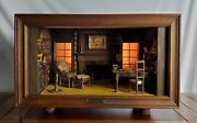 Rare Antique Miniature The Library Room Lighted Shadow Box Kupjack Thorne