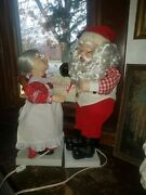 Telco Motionette Santa And Mrs Claus Musical Mommy Kissing Santa Animated In Box