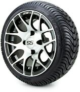Gtw 12 Pursuit Machined Black Golf Cart Wheels And Tires 215-35-12 - Set Of 4