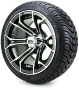 Gtw 12 Spyder Machined Black Golf Cart Wheels And Tires 215-35-12 - Set Of 4