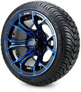 Gtw 12 Spyder Blue And Black Golf Cart Wheels And Tires 215-35-12 - Set Of 4