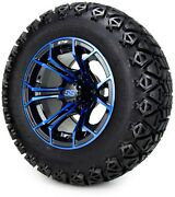 Gtw 12 Spyder Blue And Black Golf Cart Wheels And Tires 23x10.50-12 Set Of 4