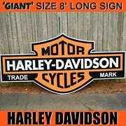 And039giantand039 Size Harley Davidson Logo Shield Sign - 8 Feet Long Very Large Sign