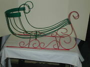 Vintage Christmas Sleigh Metal With Rubber Covered Scrolls Red And Green Unique