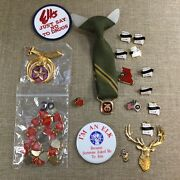 Vtg Collectible Pins Charms And Tie Elks National Foundation Lot Missouri [lm04]