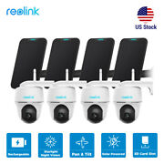 4pc Reolink Outdoor Wifi Security Camera Battery-powered Argus Pt W/ Solar Panel