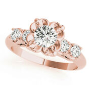 1.40 Ct Real Diamond Anniversary Ring For Women Solid 14k Rose Gold Rings Size 7