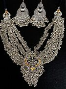 Indian Women Silver Oxidized Temple Necklace Set Bohemian Fashion Jewelry Gift