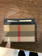 House Check And Leather Money Card Case Black Wallet Mens Men New