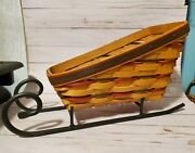 Longaberger Christmas Holiday Sleigh Basket And Wrought Iron Runners 1997