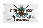 Bill Murray Chevy Chase Signed Authentic Caddyshack Bushwood Golf Pin Flag Jsa
