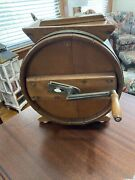 Antique Primitive Cylinder Metal And Wooden Butter Churn Iron Crank Barrel Style