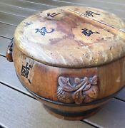 Vintage Chinese Large Wood And Copper Box Storage Stool Table Calligraphy Patina