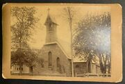 Howes Brothers Cabinet Card Photograph Of A Stone Front Church, Steeple And Bell