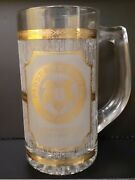 Vintage Culver Pabst Brewing Company Gold Accent Glass Beer Mug Stein