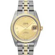 Tudor Date Day 74033-0009 Gold Dial Menand039s Watch Genuine Freesandh