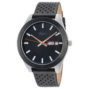 Lacoste Menand039s Legacy Stainless Steel Quartz Watch With Leather Strap