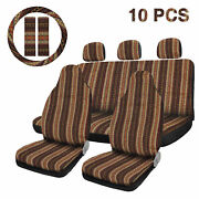 10pcs Yellow Seat Covers Saddle Blanket Seat Cover With Steering Wheel Cover