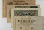 1910-1922 Germany 4-notes Currency Set // 100 500 1000 10000 Mark Bills