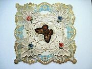 Beautiful Victorian Paper Lace Valentine Card Die Cut Scraps And Center Butterfly