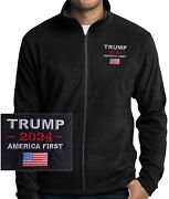 Trump 2024 America First Flag Embroidered Black Micro Fleece Jacket