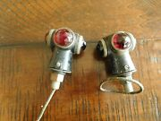 1920and039s 30and039s Vintage Nos Glass 3 Jewel Red Amber Fender Motorcycle Marker Lights