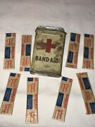 1940's Vintage Johnson And Johnson Band Aid Tin With Original Band-aids