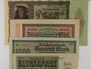 1922-1923 Germany 4-note Currency Set / Weimar Republic 1000 To 100 Million Mark
