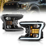 Upgraded Black Full Led Headlights Sequential Turn Signal For 2018-2020 F-150