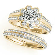 Excellent Round 1.60 Ct Diamond Wedding Ring Set Solid 18k Yellow Gold Size 8 9