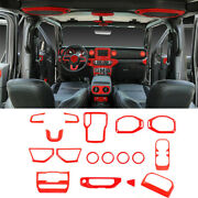 Interior Decoration Cover Trim Accessories Kit For Jeep Wrangler Jl 2018-20 Red