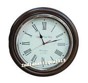 Antique Collectible Wooden O Shape Wall Clock Vintage Nautical World Time Clock