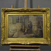 Antique Painting From And039800and039 English Foster Oil On Canvas And Water Period Xix