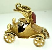 Vintage 18kt Yellow Gold Antique Car Charm.moveable Wheels 8.0 Gramsitalywow