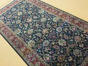 5' X 10' Navy Blue Red Fine Floral Hand Knotted Oriental Rug Wide Runner Foyer