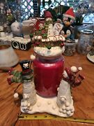 Yankee Candle Country Rustic Snowmen Jar Holder Topper Lot Of 2 Welcome New