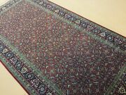 5' X 10' Red Navy Blue Fine Geometric Hand Knotted Oriental Rug Wool Foyer