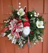 Christmas White Frosted Magnolia Berry Eucalyptus Santa Gnome Door Wreath And Bow