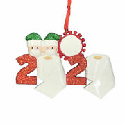 Pandemic Couple With Mask Tp 2020 Family Of 2 Personalized Christmas Ornament