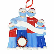 Pandemic Survival Family Of 4 Personalized Christmas Ornament Quarantine