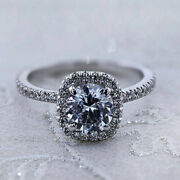 Real 1.00 Ct Diamond Engagement Ring Solid 18k White Round Gold Rings Size 8 7 9